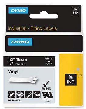Dymo RHINO vinyltape 12 mm, wit op zwart