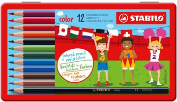 STABILO Color crayon de couleur, boîte métallique de 12 pièces