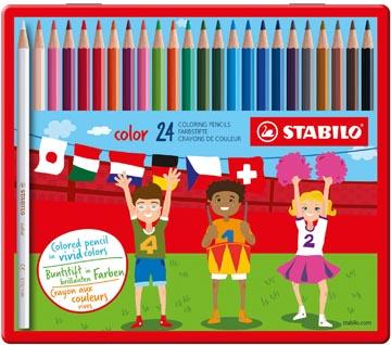 STABILO Color crayon de couleur, boîte métallique de 24 pièces