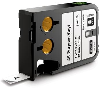 Dymo XTL tape ft 12 mm, zwart op wit, vinyl