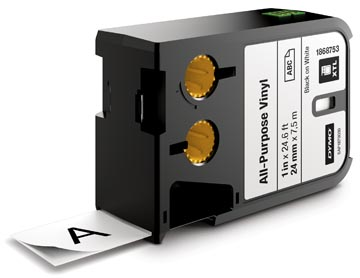 Dymo XTL tape ft 24 mm, zwart op wit, vinyl