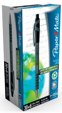Paper Mate balpen Flexgrip Ultra RT zwart, doos 30 + 6 stuks gratis