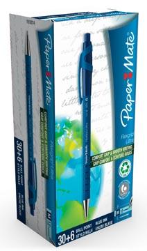 Paper Mate balpen Flexgrip Ultra RT blauw, doos 30 + 6 stuks gratis