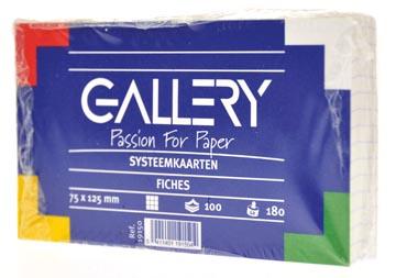 Gallery fiches blanches, ft 7,5 x 12,5 cm, quadrillé 5 mm, paquet de 100 pièces