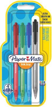 Paper Mate stylo bille InkJoy 100 RT, blister de 4 pièces en couleurs assorties