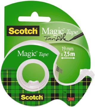 Scotch ruban adhésif Magic Tape, ft 19 mm x 7,5 m, blister avec dérouleur
