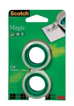 Scotch plakband Magic Tape, ft 19 mm x 7,5 m, blister met 2 rolletjes