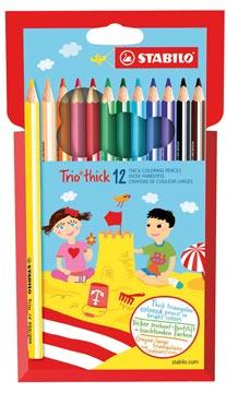 STABILO Trio thick crayon de couleur, étui de 12 pièces en couleurs assorties