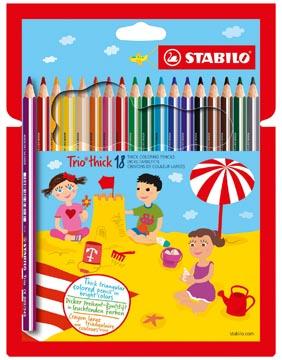 STABILO Trio thick crayon de couleur, étui de 18 pièces en couleurs assorties