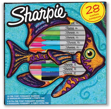 Sharpie marqueur permanente Poisson , fin et extra fine, boîte de 28 pièces en couleurs assorties
