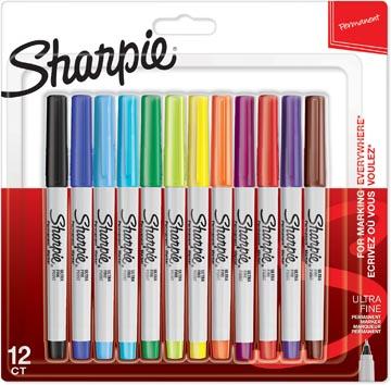 Sharpie marqueur permanente, extra fine, blister de 12 pièces en couleurs assorties
