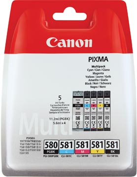 Canon inktcartridge 1x PGI-580PGBK zwart + 1x CLI-581 4 kleuren, 200 - 1.660 pagina's, OEM 2078C005