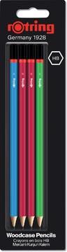 Rotring crayons, HB, couleurs assorties au core, blister avec 4 pièces