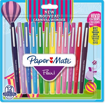 Paper Mate feutre Flair Carnaval, blister de 12 pièces en couleurs assorties