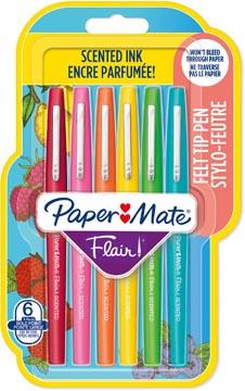 Paper Mate fineliner Flair Scent, blister met 6 stuks in geassorteerde kleuren