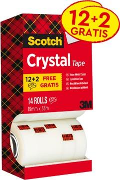 Scotch Ruban adhésif Crystal ft 19 mm x 33 m, boîte de 14 rouleaux (12 + 2 gratuits)