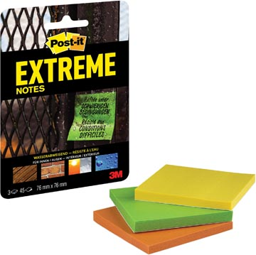 Post-it® Extreme Notes, ft 76 mm x 76 mm, 3 blocs de 45 feuilles, couleurs assorties