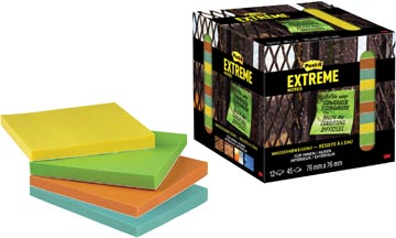 Post-it® Extreme Notes, ft 76 mm x 76 mm, 12 blocs de 45 feuilles, couleurs assorties