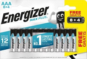Energizer batterijen Max Plus AAA, blister van 8 + 4 stuks