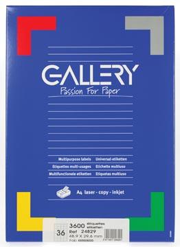 Gallery étiquettes blanches ft 48,9 x 29,6 mm (l x h), coins droits, 36 par feuille