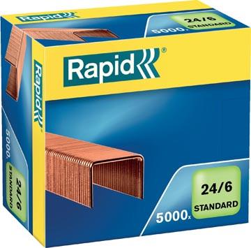 Rapid Agrafes 24/6, cuivrées, boîte de 5.000 agrafes