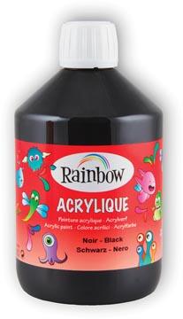 Rainbow peinture acrylique, flacon de 500 ml, noir
