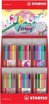 STABILO Pen 68 Living colors viltstift, display van 36 hersluitbare zakjes met 8 geassorteerde kleuren