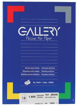 Gallery étiquettes blanches ft 66 x 46,6 mm (l x h), coins arrondis, 18 par feuille