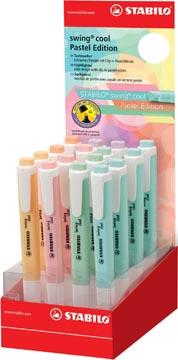 STABILO swing cool pastel surligneur, présentoir de 16 pièces en couleurs assorties