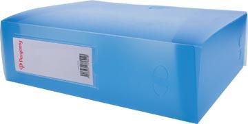Pergamy elastobox, voor ft A4, uit PP van 700 micron, rug van 10 cm, transparant blauw