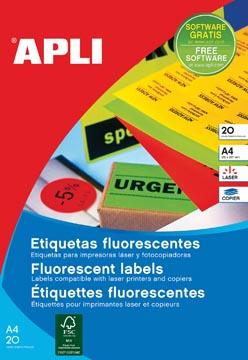 Apli fluo etiketten 64 x 33,9 mm (b x h) rood