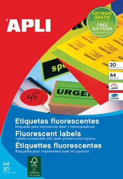 Apli fluo etiketten 99,1 x 67,7 mm (b x h) groen