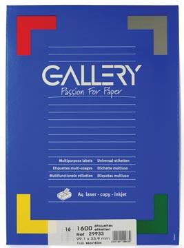 Gallery étiquettes blanches, ft 99,1 x 33,9 mm (l x h), coins arrondis, 16 par feuille