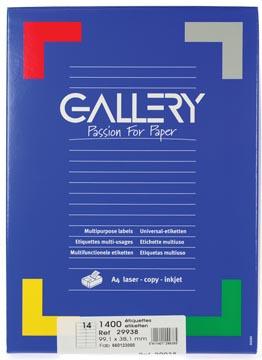 Gallery étiquettes blanches, ft 99,1 x 38,1 mm (l x h), coins arrondis, 14 par feuille
