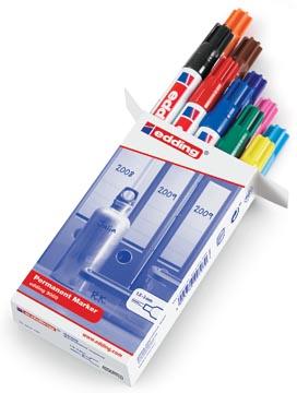 Edding permanent marker 3000, doos van 10 stuks in geassorteerde kleuren