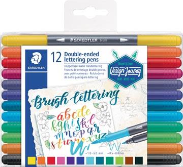 Staedtler bruspen Brush letter duo, boîte de 12 pièces en couleurs assorties