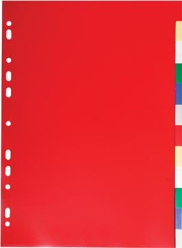 Exacompta intercalaires pour ft A4, en PP 12/100e, 12 onglets, couleurs assorties