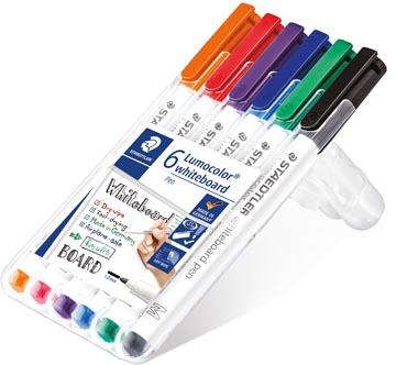 Staedtler whiteboard pen Lumocolor Pen, opstelbare box met 6 stuks in geassorteerde kleuren