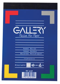 Gallery carnet de notes, ft A6, ligné, 70 g/m²