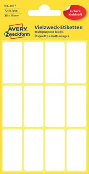Avery Etiquettes blanches ft 38 x 18 mm (l x h), 72 pièces