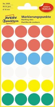 Avery Etiquettes ronds diamètre 18 mm, couleurs assorties, 96 pièces