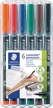 Staedtler Marqueur OHP Lumocolor Permanent couleurs assorties, boîte de 6 pièces, extra fine 0,4 mm