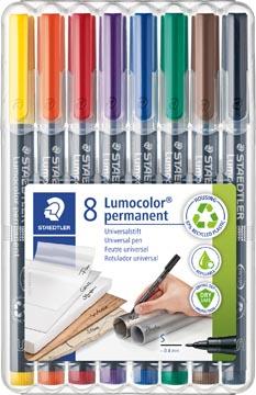 Staedtler Marqueur OHP Lumocolor Permanent couleurs assorties, boîte de 8 pièces, extra fine 0,4 mm