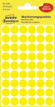 Avery Etiquettes ronds diamètre 12 mm, jaune, 270 pièces