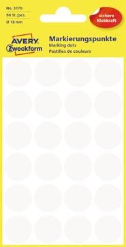 Avery Etiquettes ronds diamètre 18 mm, blanc, 96 pièces