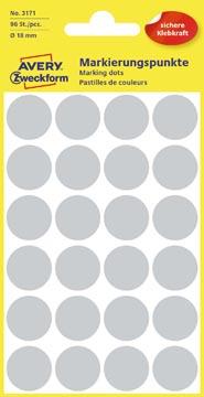Avery Etiquettes ronds diamètre 18 mm, gris, 96 pièces