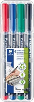 Staedtler Marqueur OHP Lumocolor Permanent couleurs assorties, boîte de 4 pièces, moyenne 1 mm