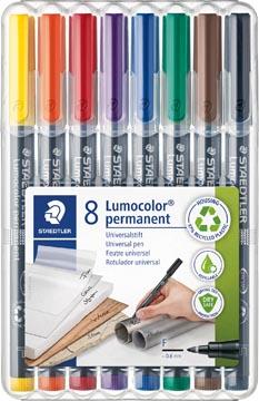Staedtler OHP-marker Lumocolor Permanent geassorteerde kleuren, box met 8 stuks, fijn 0,6 mm