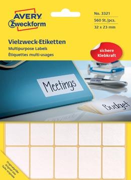 Avery Zweckform 3321 étiquettes mini, ft 32 x 23 mm, 560 étiquettes, blanc