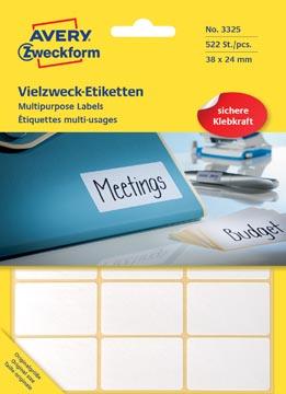 Avery Zweckform 3325 étiquettes mini ft 38 x 24 mm (b x h), 522 étiquettes, blanc